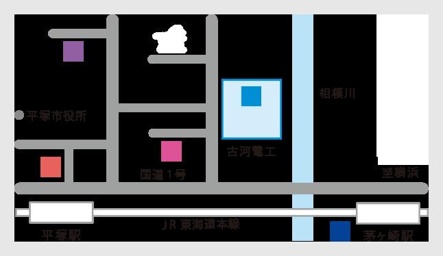 工場・本社の地図